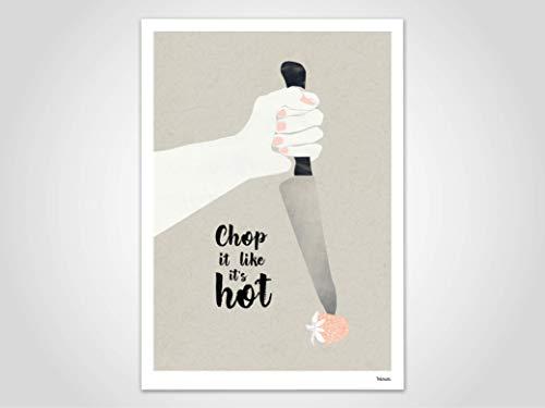 Hot — Poster, Kunstdruck, skandinavische Bilder, Deko, Poster Erdbeere, Frühling, Spruch, lustige Poster, Küche, Kochen, Messer, Familie