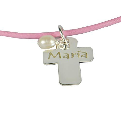 Regalo Personalizado para una niña en su Primera Comunión: Colgante de Plata en Forma de Cruz con una Perla y Grabado con el Texto Que tú Quieras