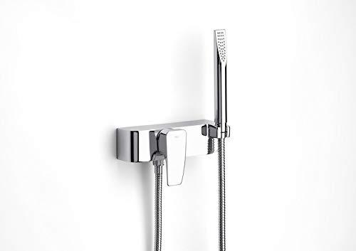 Roca Thesis - grifo monomando exterior para ducha con ducha de mano, flexible de 1,50 m. y soporte de ducha . Griferías hidrosanitarias Monomando. Ref.A5A2050C00