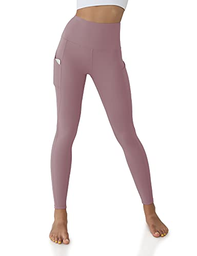 ODODOS Women's High Waisted Yoga Pants with Pockets,Tummy Control Non See Through Workout Sports Running Leggings, Full-Length,Lavender,Small