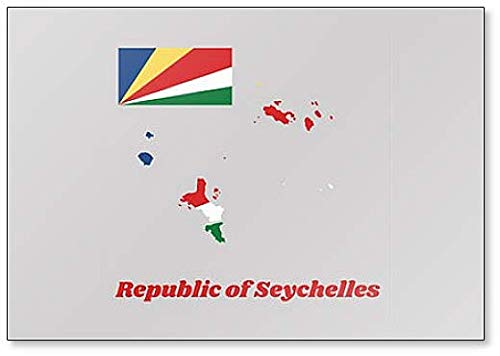 Klassischer Kühlschrankmagnet mit Landkarte & Flagge von Seychellen