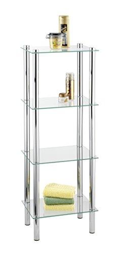 WENKO Estantería para la casa y el baño cromo Yago - 4 repisas, Acero, 40 x 104 x 30 cm, Cromo
