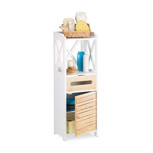 Relaxdays Beistellschrank klein mit 5 Ablagen, Mehrzweckschrank für Küche und Bad, schmaler Nische Regalschrank, weiß