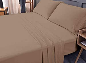 Luxury Bed Sheet Set - Bamboo, Eco-Friendly, Non-allergenic, Wrinkle Free, Cooling, Ultra Soft Deep, Shrink Resistant, Deep Pocket Bedding Sheets - 4 Piece Set (Mocha, Full)