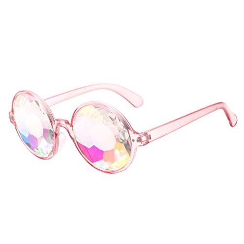 LUOEM Kaleidoskop Brille Regenbogen Gläser Sonnenbrille Party Festivals Dekoration (Rosa Rahmen)