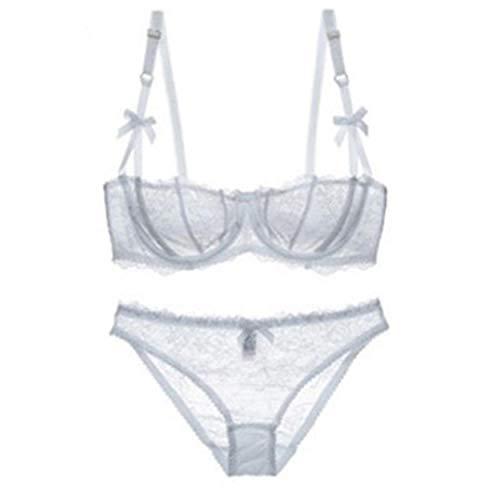Bikinis Y Braguitas para Mujer Ropa Interior Conjunto De Sujetador De Media Copa Ultra Delgado Transparente De Encaje Sexy 75A_ Blanco
