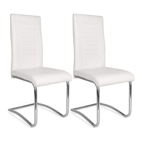 Mingone 2er Set Esszimmerstuhl Küchenstuhl Schwingstuhl Loano, Gestell in Chrom, Bezug aus Lederimitat in GrauBezug aus Lederimitat in Weiß