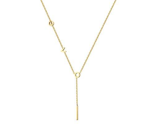VNOX - Collar Chapado en Oro de 18 Quilates de Acero Inoxidable con Colgante de Gota y Cadena Larga para Mujeres y niñas