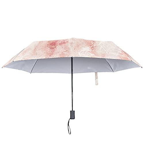 Paraguas automático con textura de mármol, tono fresco y protección UV, blanco (Blanco) - Bannihorse-UBR-8