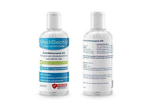 MediSeptic Antiinfektionsspray A50 für hygienische Händedesinfektion, 250 ml Lösung