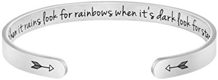 Joycuff When It Rains Look for Rainbows When It s Dark Inspirational Mantra Cuff Bracelet Hidden product image