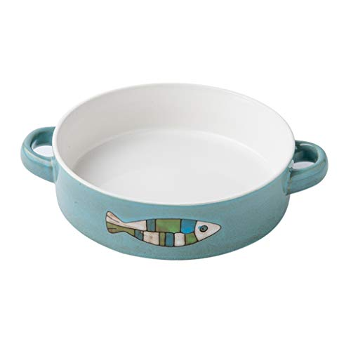 ZZRR Fish Fun Creative Placa de Doble Oreja Anti-escaldado, vajilla Personalizada, Esmalte Activo de cerámica, Adecuada para la Cocina del hogar, Azul (7.5 Pulgadas)