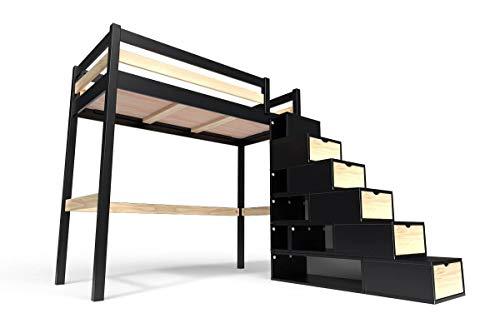 ABC MEUBLES - Lit Mezzanine Sylvia avec escalier Cube Bois - Cube - Noir/Vernis Naturel, 90x200