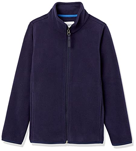 Amazon Essentials Boys' Polar Fleece Full-Zip Mock Jackets, Night Navy, Large