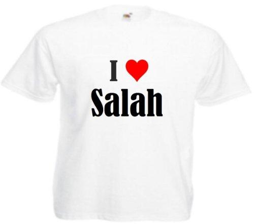 Camiseta I Love Salah para mujer, hombre y niños en los colores negro, blanco y rosa. Blanco M
