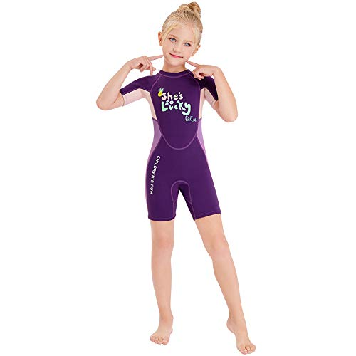 Wetsuit Kids Shorty Neoprene Thermal Diving Swimsuit 2.5MM for Girls Boys Youth Teen Toddler Child, One Piece Children Rash Guard Swimming Suit UV Protection Sunsuit for Surfing (Purple, L)