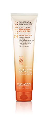GIOVANNI 2chic Ultra Volume Amplifying Hair Styling Gel, 5.1 oz. for Thin Fine Limp Hair, Tangerine \u0026amp; Papaya Butter, Lightweight Weightless Control, Paraben Free, Color Safe (Pack of 1)