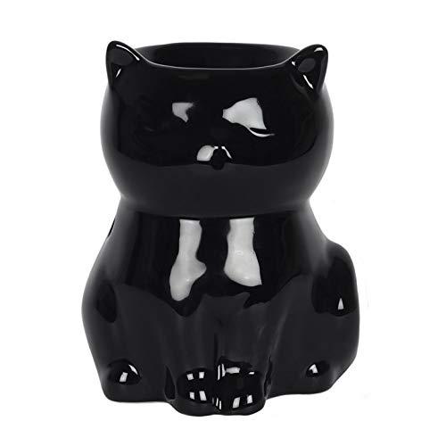 Generic Duftlampe in Katzenform, Keramik, 9 x 12 x 8,5 cm, Schwarz