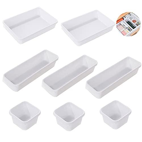 Organizadores de Cajón de Plastico Apilables Blanco 8Pcs Cajas Bandejas De PláStico Apilables Almacenamiento Para Cajones Cajones Organizadores Escritorio Bandejas de Maquillaje para Oficina Tocador