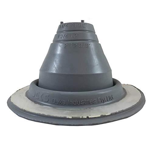 DEKTITE #1 (DF101G) Gray EPDM Flexible Round Pipe Flashing Dektite (fits OD Pipe Sizes 1/4' - 2-1/2') - Metal Roof Jack Pipe Boot - Metal Roofing Pipe Flashing - Deks Dektite