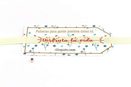 Tarja 73 - Pulsera de Tela con Mensaje: Disfruta de la Vida - Pulsera con Frase - Regalo Creativo e Ideal