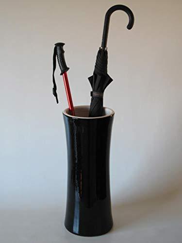 POLONIO - Paraguero de Ceramica Negro de 50 cm - Bastonero de Ceramica para Entrada y Pasillo - Jarron de Ceramica Grande Color Negro y Blanco