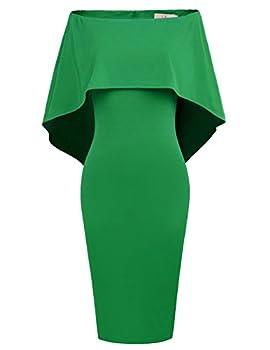 GRACE KARIN Women Off Shoulder Batwing Cape Midi Dress XL Green