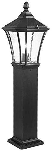 Baibao 1-Light im Freien Garten-Pfosten Laterne Säule Rasen-Beleuchtungskörper, Traditionelle Beiträge Lampe mit E27, Wasserdichten, schwarzen Aluminiumgussgehäusen, Klarglas Panels (Größe: H 80 cm)