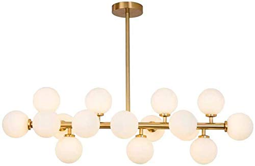 ZCYY Kronleuchter, während Lampe G4 Kronleuchter, 16 Lichter Moderne Glaskugel Deckenleuchte, Mid Century Kronleuchter, während des Essens Schlafzimmer Beleuchtung Golden 16-Lichter