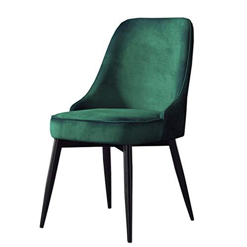 Amrai-Sillas de Comedor Nordic Thicken Velvet Seat Sillas de Ocio Cocina Sala de Estar Silla sin Brazos con Patas de Metal, cómodas sillas de Respaldo (5 Colores)