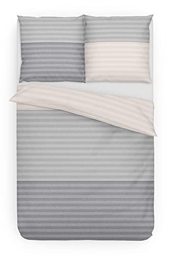 Träumschön Biber Bettwäsche 135x200 cm Bettbezug Baumwolle   Bettwäsche 2teilig grau   Bettwäscheset aus 100% Baumwolle   Bettwäsche gestreift