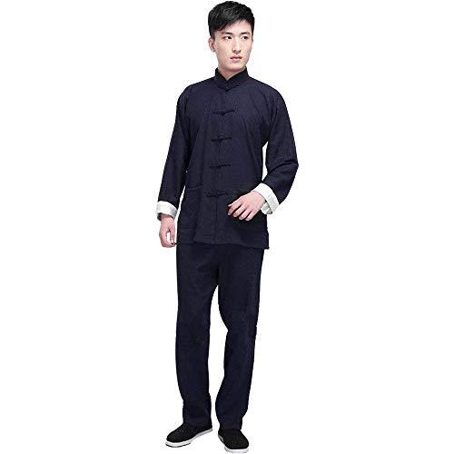 G-like Kung Fu Herren Anzug - Traditionelle Chinesische Kampfkunst Tai Chi Qigong Wing Chun Shaolin Wushu Lange Ärmel Training Freizeit Kleidung Uniform Jacke Hose (Marineblau, M)