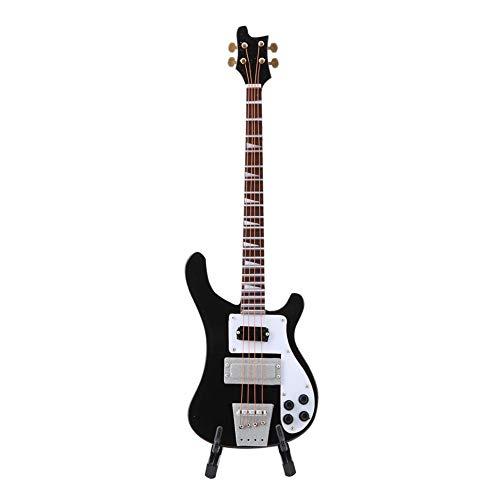Hongzer Gitarreninstrument, schwarz Miniatur Bassgitarre Replikat mit Ständer und Koffer Instrument Modell Ornamente Geschenk
