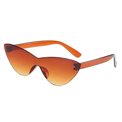 Gafas de sol de una pieza para mujer 2021 coloridas gafas de sol sin montura de moda Retro de color caramelo Vintage gafas de lujo-Gradient_Tea