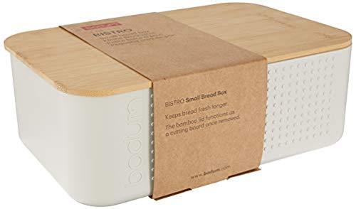 Bodum 11740-913 BISTRO Brotkasten klein Brotkasten, Kunststoff, Holz, Weiss, 19.39 x 29.4 x 10.7 cm