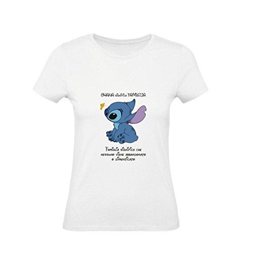 Social Crazy T-Shirt Donna Cotone Basic Super vestibilità Top qualità - Lilo E Stich - Ohana - Divertente Humor Made in Italy (M, Bianca)