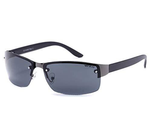 Alsino Klassische Sonnenbrille Randlose Leichte Brille mit UV 400 Schutz Viper Eyewear Collection in verschiedenen Modellen Herren Damen Unisex (schwarz)