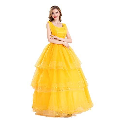 JJAIR Prinzessin Cosplay Schönheit Damen-Kostüm, Prinzessin Belle Dress Up Ballkleid, Halloween-Kostüm-Erwachsene,L