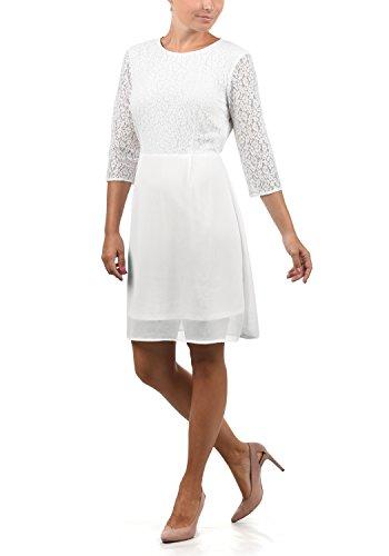 VERO MODA Eve Damen Abendkleid Cocktailkleid Festliches Kleid Mit Rundhals-Ausschnitt Und Spitze Midilänge, Größe:M, Farbe:Snow White