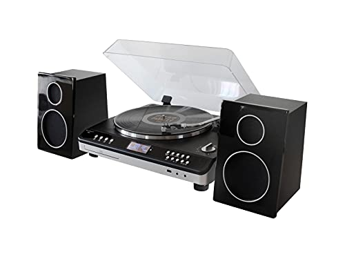 soundmaster Automatic Turntable Record Player HiFi System with Radio, CD Player, USB Encoding and 2...