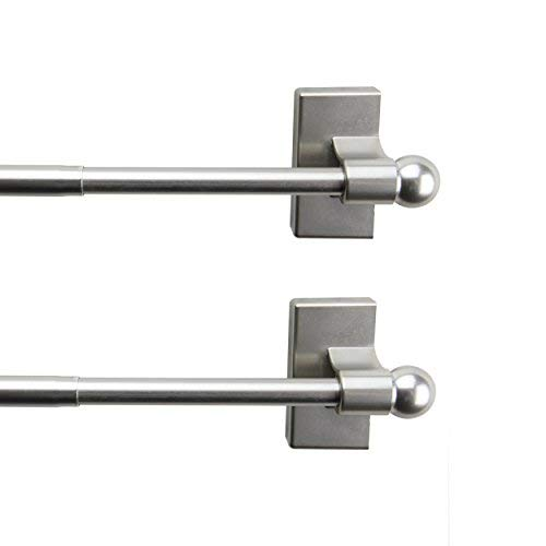 A&F Rod Décor - Magnetic Curtain Rod,28-48 inch - Satin Nickel (Set of 2)