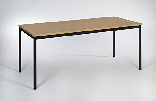 furni24 Schreibtisch Homeoffice schwarz/Buche 200 cm x 80 cm x 75 cm Verschiedene Größen schöner Stabiler PC-Tisch mit viel Beinfreiheiten