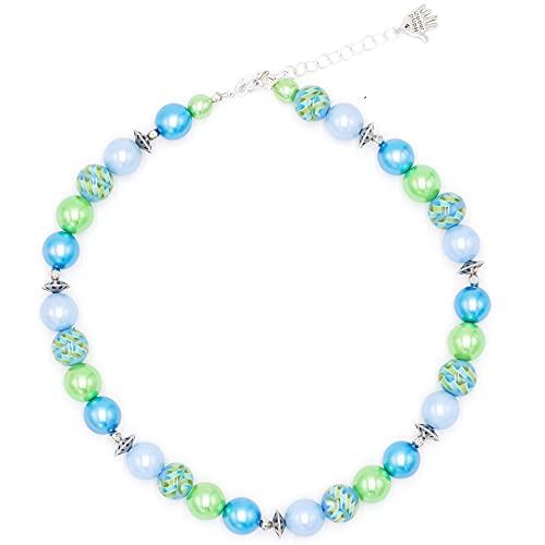 Feliss Collar de mujer para mujer, multicolor, cadena de perlas de colores pastel, verde y azul, 45 cm de largo, joya regalo para novia, madre, regalo de cumpleaños