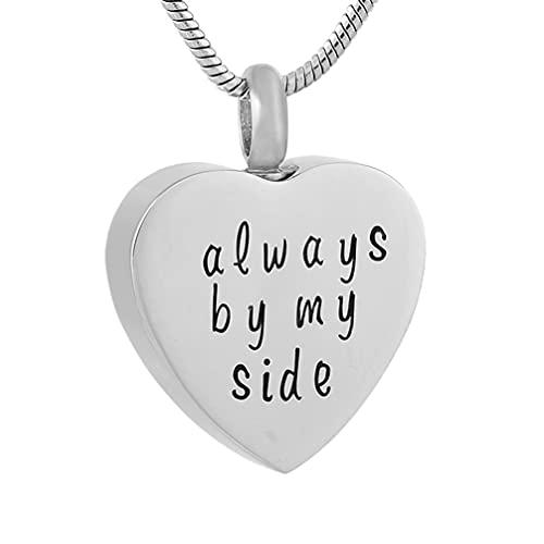 Liart Collar de Urna con Soporte para Cenizas de Cremación de Corazón Colgante Siempre a mi Lado Recuerdo Memorial Urn Joyas de Acero Inoxidable para Seres Queridos