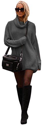 Mikos Damen Strickpullover Sweater Rollkragen Pullover Jumper Strick Pulli Oversize (648) (Grafite)