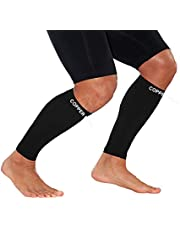 Calf Copper Compression Sleeves by COPPER HEAL (1 Pair) for Exercise Sport Recovery - Calf Muscle Strains Shin Splints Leg Socks Men and Women Calfs Sleeve Guard for Running Mens Guards