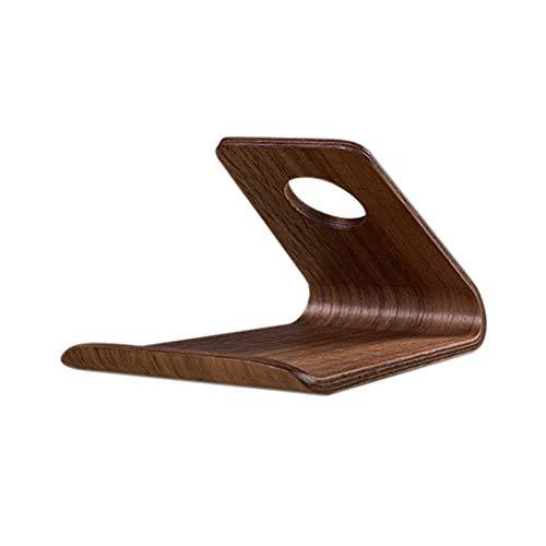 WanBeauty - Soporte para teléfono móvil, diseño retro, elegante, universal, para oficina o escritorio de madera, compatible con todos los smartphones, color negro