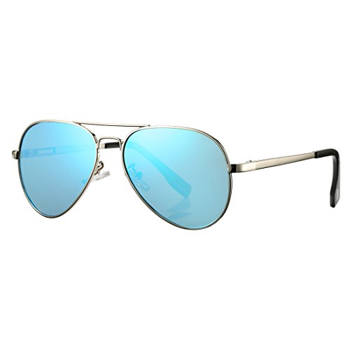 Polarized Aviator Sunglasses for Juniors Small Face Women Men Vintage UV400 Protection Shades(Silver Frame/Blue Mirrored Lens)