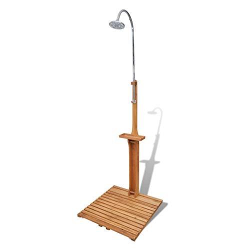 Ducha de jardín de madera, rotación, ducha de mano giratoria y ducha de agua ajustable con soporte y plataforma de madera lisa, fácil de limpiar, diseño de ducha antideslizante