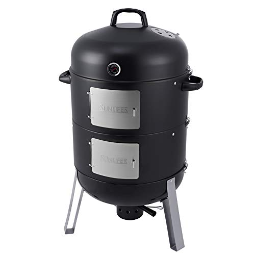 SUNLIFER 20.5 Inch Vertical Charcoal Smoker and Grill Combo, Heavy-Duty BBQ Smokers for Outdoor...